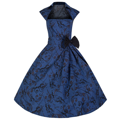 Pretty Kitty Vintage Blue Bow Swing Dress