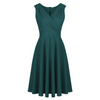 Forest Green Vintage A Line Crossover Midi Swing Dress