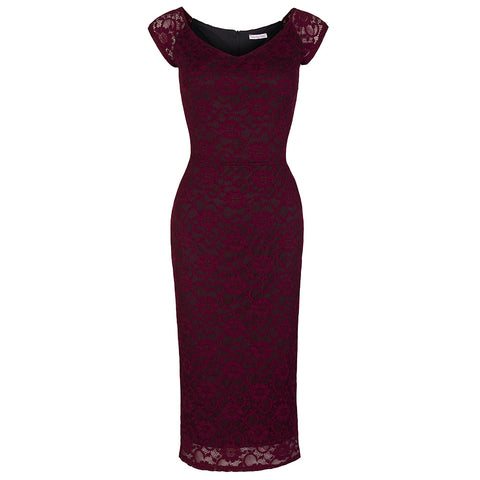 Wine Red Lace Wiggle Pencil Dress