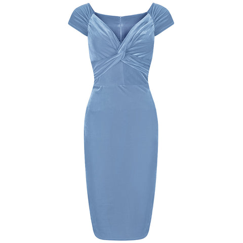Ice Blue Velour Crossover Wiggle Dress