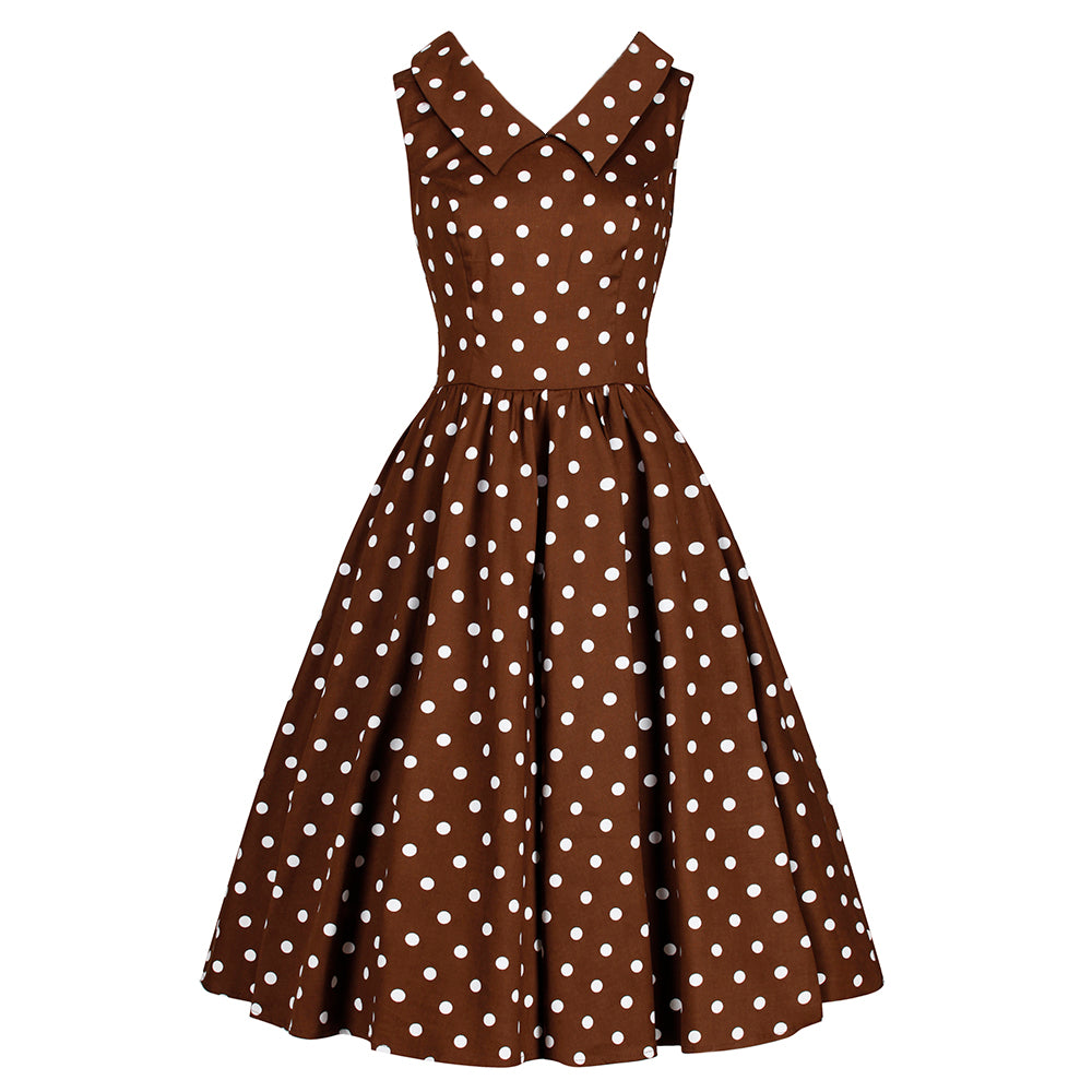 be662d8d4f99 Chocolate Brown and White Polka Dot Rockabilly 50s Swing Tea Dress