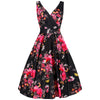 Black Floral Print Cotton Sleeveless Rockabilly Pin Up 50s Swing Dress - Pretty Kitty Fashion