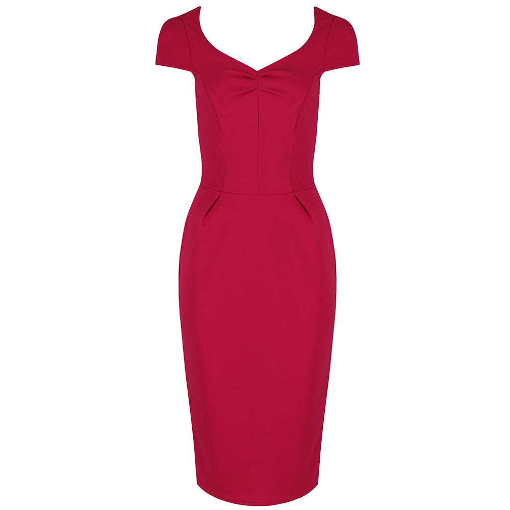 27d8298b15d5 Raspberry Red Cap Sleeve Bodycon Pencil Dress - Pretty Kitty Fashion