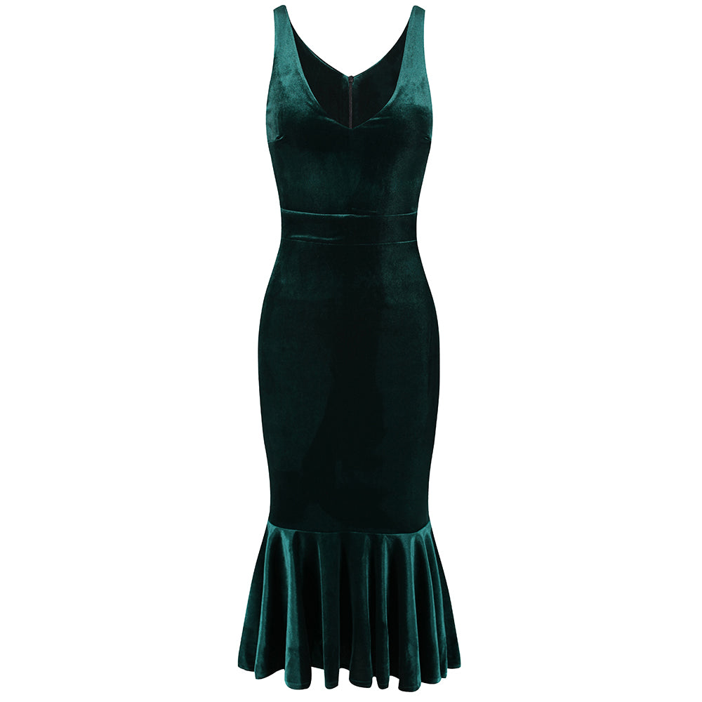 Vintage Green Velour Velvet Party Hollywood Wiggle Bodycon Pencil Cocktail Dress