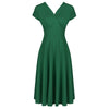 Emerald Green A Line Vintage Crossover Capped Sleeve Tea Swing Dress - Pretty Kitty Fashion