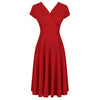 Red Vintage Crossover Capped Sleeve Tea Swing Dress - Pretty Kitty Fashion