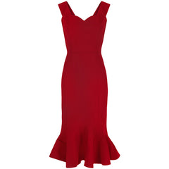 Collectif Red Fishtail Wiggle Dress