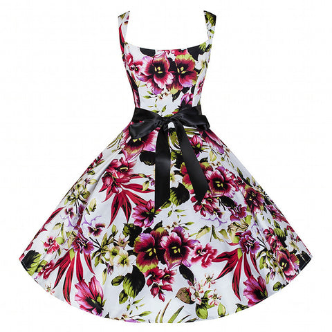 Pretty Kitty White Floral Strap Swing Dress