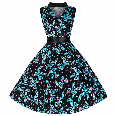 Pretty Kitty Blue Bow Print Swing Dress