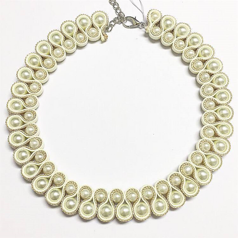 Pearl Cream Gold Collar Necklace