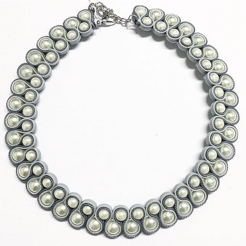 Pearl Silver Collar Necklace