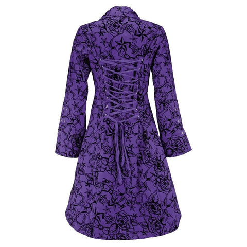 Purple Vintage Flock Tattoo Long Coat