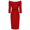 Red Vintage Belted 3/4 Sleeve Bodycon Wiggle Pencil Dress - Pretty Kitty Fashion