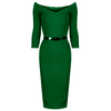 Red Vintage Belted 3/4 Sleeve Bodycon Wiggle Work Office Pencil Dress - Pretty Kitty Fashion