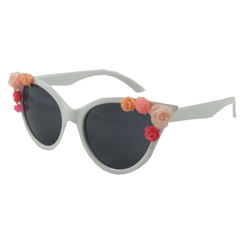 White Vintage Retro Corsage Sunglasses