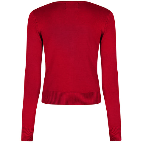 Red Stretch V Neck Button Through Cardigan