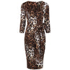 Leopard Print 3/4 Sleeve Crossover Top Bodycon Wiggle Pencil Dress