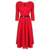 Vintage Red 3/4 Sleeve Belted 50s Swing Dress