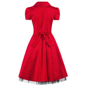 Red and Black Polka Dot 50s Swing Tea Dress