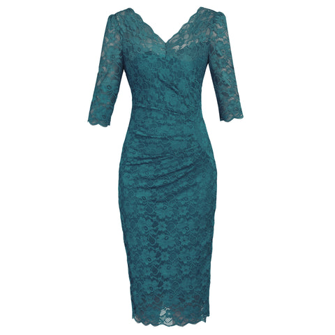 Teal Green V Neck 1/2 Sleeve Vintage Lace Bodycon Pencil Dress
