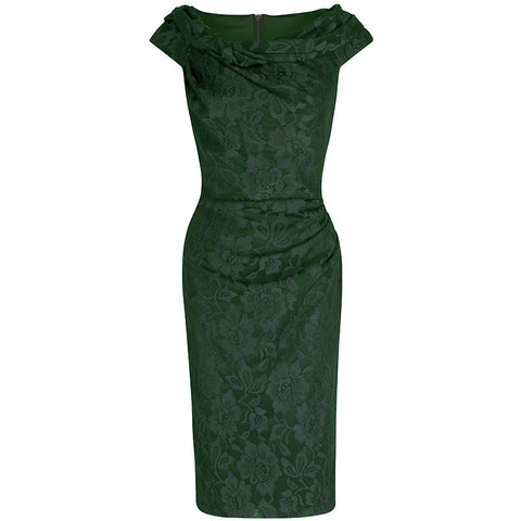 Emerald Green Lace Bardot Wiggle Pencil Dress