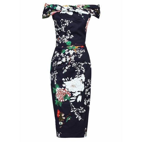Navy Blue Floral Print Bardot Neck Wiggle Pencil Dress