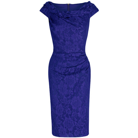 Royal Blue Lace Bardot Wiggle Pencil Dress