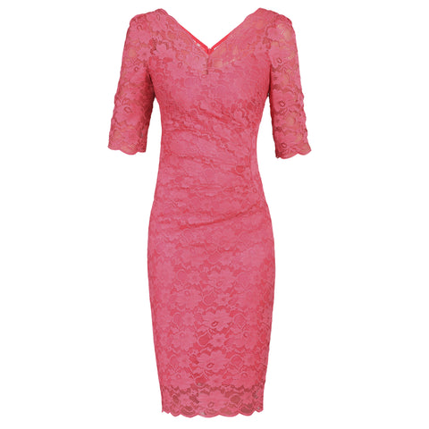 Coral Pink V Neck 1/2 Sleeve Vintage Lace Bodycon Pencil Dress