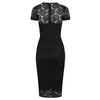Black Cap Sleeve Lace Wiggle Pencil Cocktail Dress - Pretty Kitty Fashion