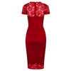Red Cap Sleeve Lace Wiggle Pencil Cocktail Party Dress