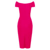 Hot Pink Cap Sleeve Crossover Top Bardot Wiggle Dress