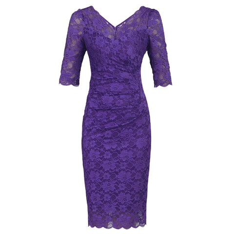 Lavender Purple V Neck 1/2 Sleeve Vintage Lace Bodycon Pencil Dress