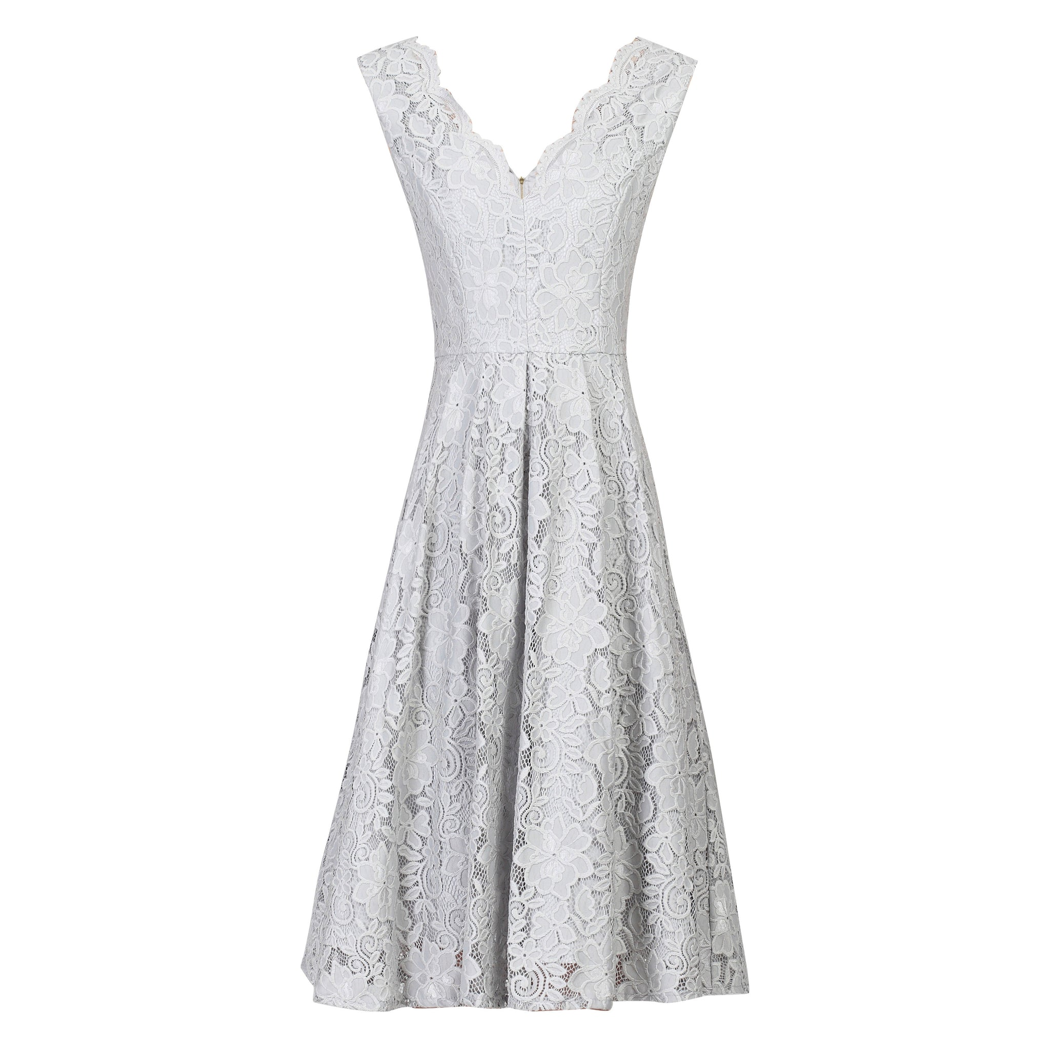 9d95f42ebc77 Silver Grey Embroidered Lace Sleeveless V Neck 50s Bridesmaid Swing Dress