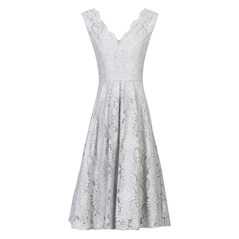 Silver Grey Lace Embroidered Swing Dress