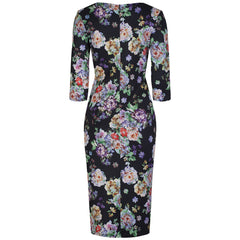 Black Multi Floral Wiggle Dress