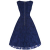 Navy Blue Embroidered Lace Swing Dress - Pretty Kitty Fashion