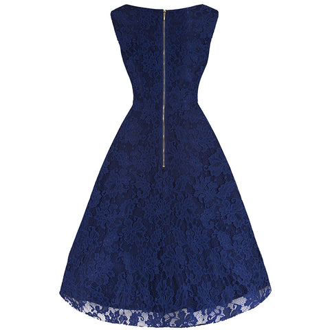 Navy Blue Embroidered Lace Swing Dress