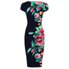 Navy Blue Summer Floral Bodycon Cap Sleeve Wiggle Dress