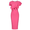 Rose Pink Asymmetric Frill Overlay Bodycon Wiggle Pencil Dress