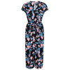 Black Pink Flamingo and Blue Floral Print Culotte Jumpsuit - Pretty Kitty Fashion