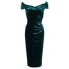 Vintage Green Velour Cap Sleeve Crossover Top Bardot Wiggle Dress