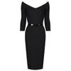 Black Vintage Belted 3/4 Sleeve Bodycon Office Work Wiggle Dress - Pretty Kitty Fashion