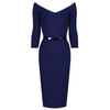 Navy Blue Vintage Belted 3/4 Sleeve Bodycon Wiggle Work Office Pencil Dress