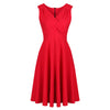 Vintage Red A Line Crossover Midi Swing Dress