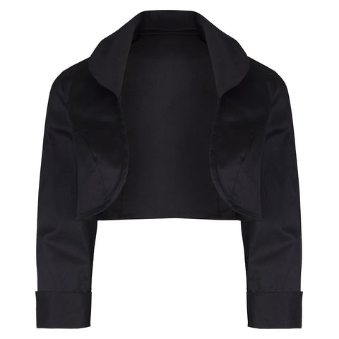 Black Cotton 3/4 Sleeve Bolero