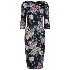 Black Multi Floral Wiggle Dress - Pretty Kitty Fashion
