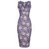Mauve Floral Print Sleeveless Crossover Top Empire Waist Wiggle Dress - Pretty Kitty Fashion