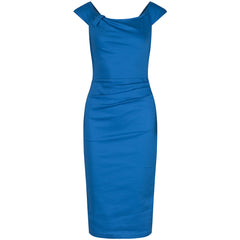 Cerulean Blue Vintage Wiggle Pencil Dress