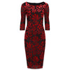 Red and Black 3/4 Sleeve Rose Flock Print Bodycon Devore Pencil Wiggle Party Dress