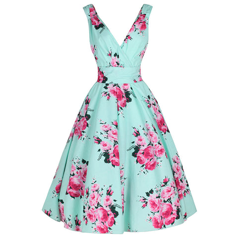 Mint Green Floral Swing Dress Pink & Green Print